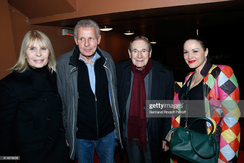 Candice Patou, Patrick Poivre d'Arvor, Director Robert Hossein and Actress Alexandra Sarramona attend the 'Garde Alternee' : Theater Play at Theatre des Mathurins on March 6, 2016 in Paris, France.