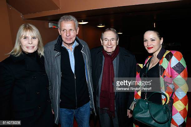 Candice Patou Patrick Poivre d'Arvor Director Robert Hossein and Actress Alexandra Sarramona attend the 'Garde Alternee' Theater Play at Theatre des...