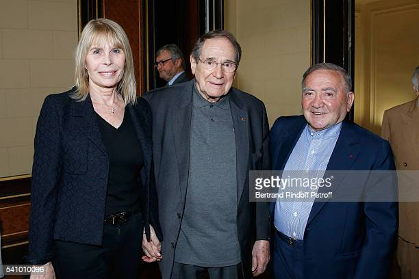 Candice Patou Robert Hossein and Levon Sayan attend Levon Sayan receives Insignia of 'Commandeur de l'Ordre National du Merite' at Hotel d'Evreux on...