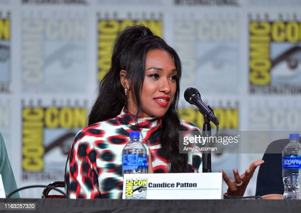 Candice Patton speaks at The Flash Special Video Presentation and QA during 2019 ComicCon International at San Diego Convention Center on July 20...