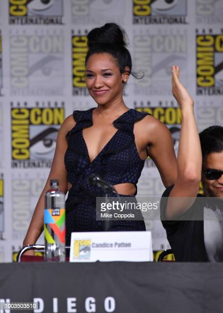 Candice Patton speaks onstage at theThe Flash Special Video Presentation and QA during ComicCon International 2018 at San Diego Convention Center on...