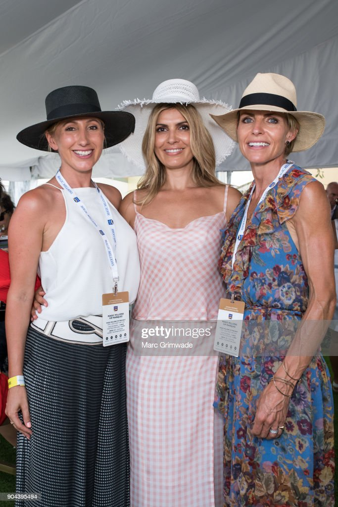 Candice Seymour, Amee Evans and Sophie McLachlan attend Magic Millions Raceday on January 13, 2018 in Gold Coast, Australia.