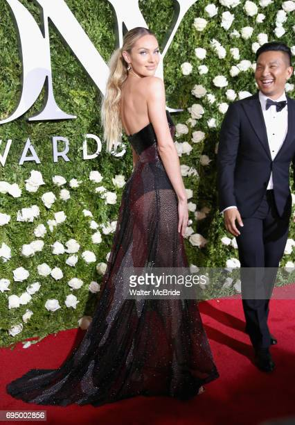 Candice Swanepoel and designer Prabal Gurung attend the 71st Annual Tony Awards at Radio City Music Hall on June 11 2017 in New York City