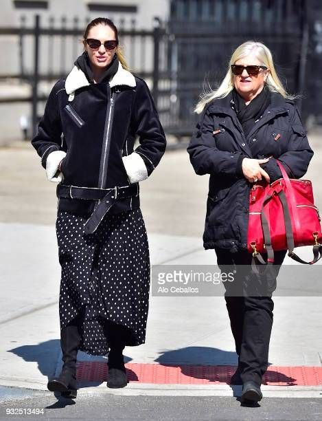 Candice Swanepoel and Eileen Swanepoel are seen in Soho on March 15 2018 in New York City