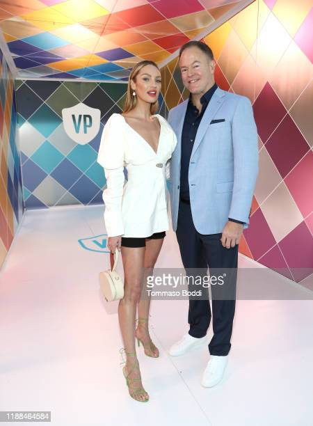 Candice Swanepoel and Founder and CEO of Vital Proteins Kurt Seidensticker attend Vital Proteins Collagen Water Beverly Hills Bash on November 16,...
