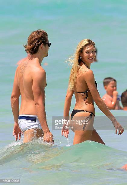 Candice Swanepoel and her boyfriend Hermann Nicoli are seen on July 03, 2012 in Miami, Florida.