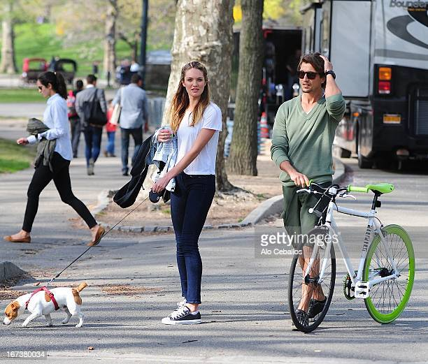 Candice Swanepoel and Hermann Nicoli seen in Central Park on April 24 2013 in New York City