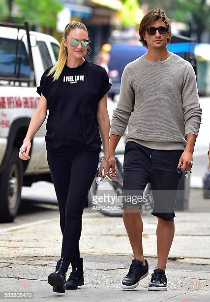 Candice Swanepoel and Hermann Nicolion are seen in the East Village May 23 2016 in New York City