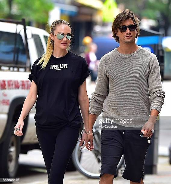 Candice Swanepoel and Hermann Nicolion are seen in the East Village May 23, 2016 in New York City.