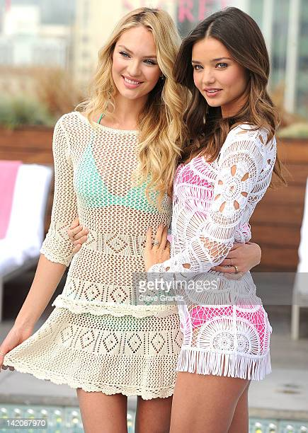 Candice Swanepoel and Miranda Kerr attends Victoria's Secret 2012 SWIM Collection Launch at Thompson Hotel on March 29 2012 in Beverly Hills...