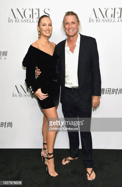Candice Swanepoel and Russell James attend the ANGELS by Russell James book launch and exhibit hosted by Cindy Crawford and Candice Swanepoel at...