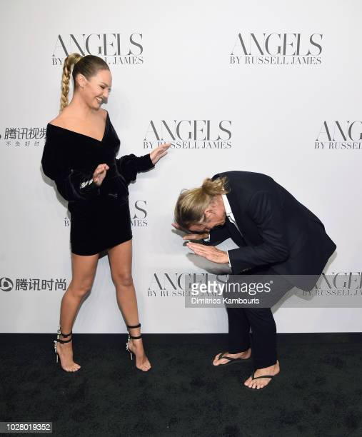 Candice Swanepoel and Russell James attend the 'ANGELS' by Russell James book launch and exhibit hosted by Cindy Crawford and Candice Swanepoel at...