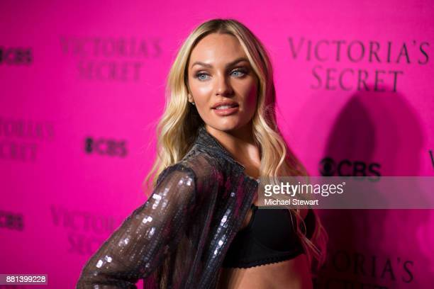 Candice Swanepoel attends the 2017 Victoria's Secret Fashion Show viewing party pink carpet at Spring Studios on November 28 2017 in New York City