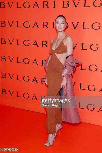 Candice Swanepoel attends the Bvlgari B.zero1 Rock collection event at Duggal Greenhouse on February 06, 2020 in Brooklyn, New York.