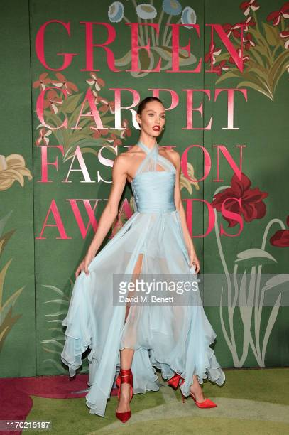 Candice Swanepoel attends The Green Carpet Fashion Awards, Italia 2019, hosted by CNMI & Eco-Age, at Teatro Alla Scala on September 22, 2019 in...
