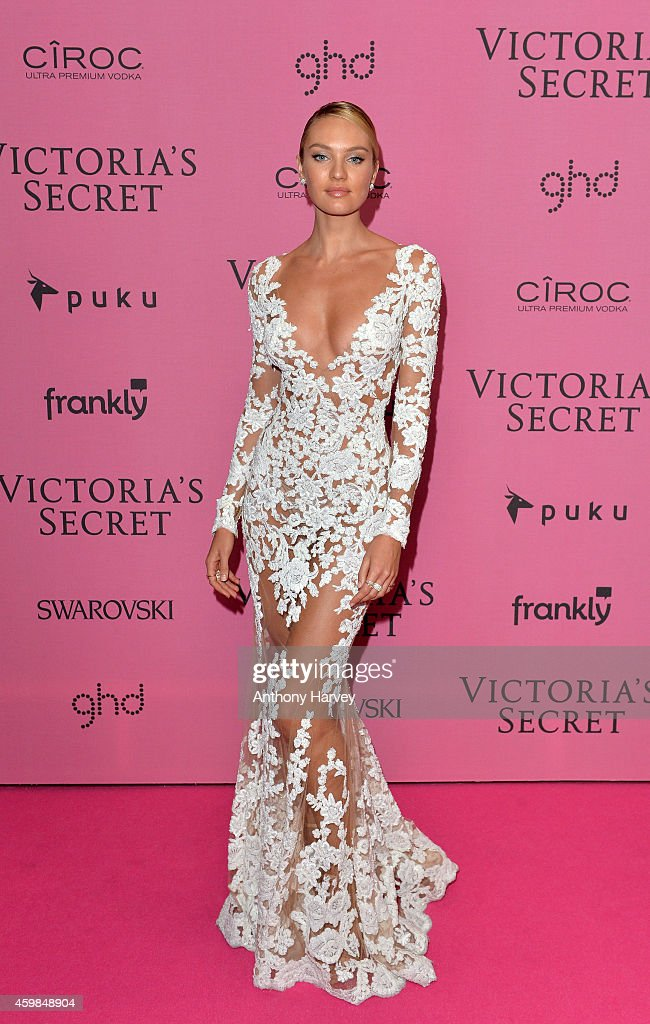 Candice Swanepoel attends the pink carpet of the 2014 Victoria's Secret Fashion Show on December 2, 2014 in London, England.