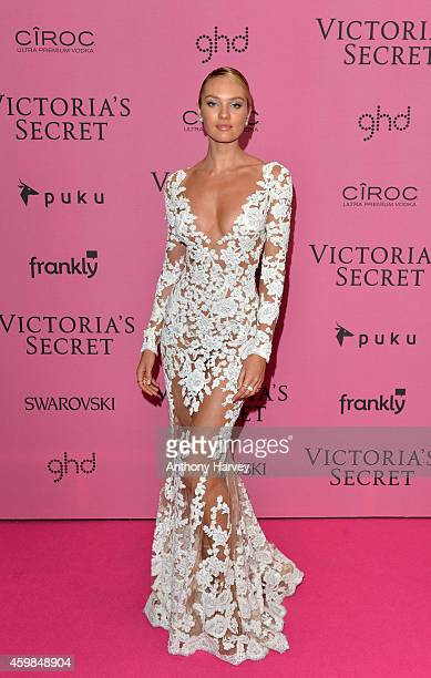 Candice Swanepoel attends the pink carpet of the 2014 Victoria's Secret Fashion Show on December 2 2014 in London England