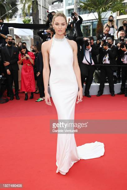 """Candice Swanepoel attends the """"Tout S'est Bien Passe """" screening during the 74th annual Cannes Film Festival on July 07, 2021 in Cannes, France."""