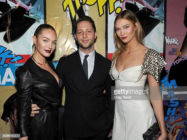 Candice Swanepoel Derek Blasberg and Karlie Kloss attend the Marvel and Garage Magazine New York Fashion Week Event on February 11 2016 in New York...