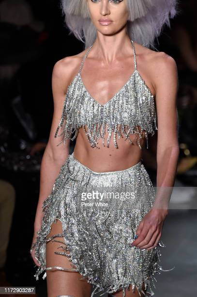 Candice Swanepoel fashion detail walks the runway for Jeremy Scott during New York Fashion Week The Shows at Gallery I at Spring Studios on September...