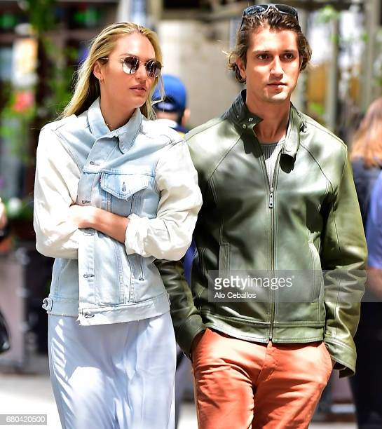 Candice Swanepoel, Hermann Nicoli are seen in the East Village on May 8, 2017 in New York City.