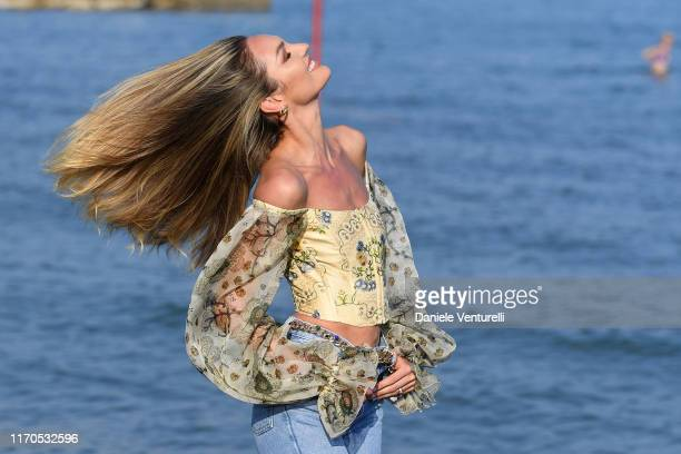 Candice Swanepoel is seen arriving at the 76th Venice Film Festival on August 27, 2019 in Venice, Italy.