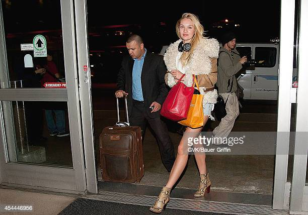 Candice Swanepoel is seen at Los Angeles International Airport on March 29 2012 in Los Angeles California