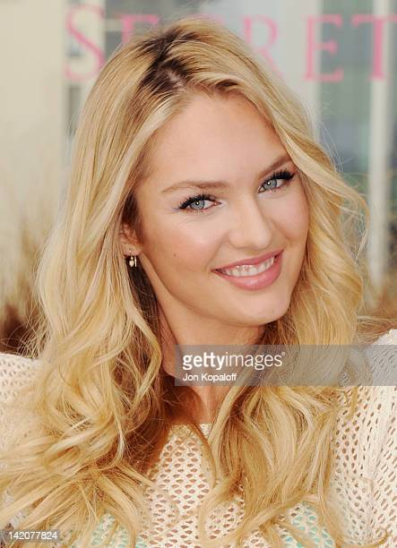 Candice Swanepoel poses at Victoria's Secret Angels Miranda Kerr and Candice Swanepoel Launch The 2012 SWIM Collection at the Thompson Hotel on March...
