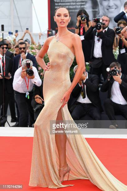 """Candice Swanepoel walks the red carpet ahead of the Opening Ceremony and the """"La Vérité"""" screening during the 76th Venice Film Festival at Sala..."""