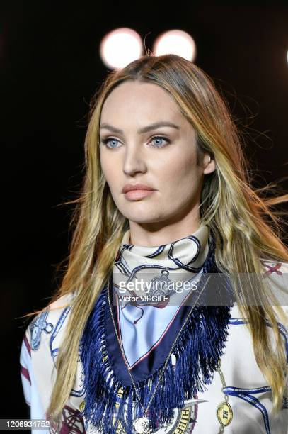 Candice Swanepoel walks the runway at the Tommy Hilfiger Ready to Wear Spring/Summer 2020 fashion show during London Fashion Week on February 16 2020...