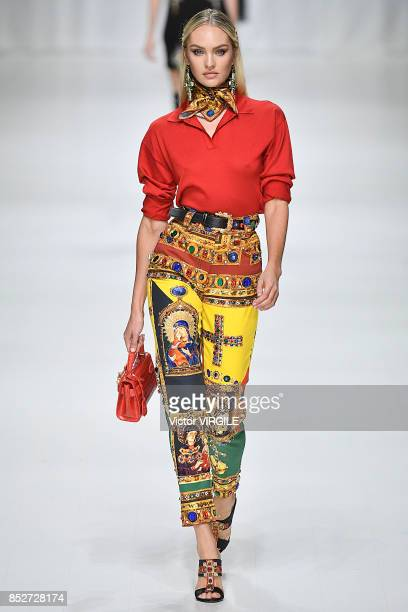 Candice Swanepoel walks the runway at the Versace Ready to Wear Spring/Summer 2018 fashion show during Milan Fashion Week Spring/Summer 2018 on...