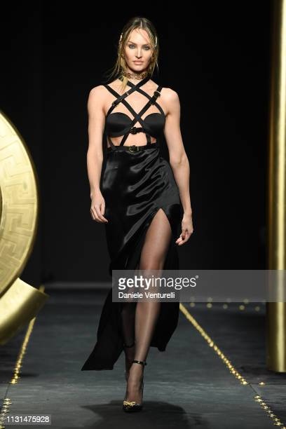 Candice Swanepoel walks the runway at the Versace show at Milan Fashion Week Autumn/Winter 2019/20 on February 22, 2019 in Milan, Italy.