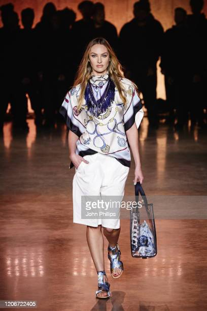 Candice Swanepoel walks the runway at TOMMYNOW London Spring 2020 at Tate Modern on February 16 2020 in London England