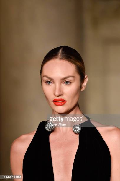 Candice Swanepoel walks the runway during the Oscar De La Renta Show February 2020 New York Fashion Week The Shows at The New York Public Library on...