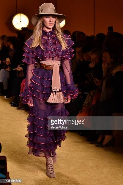 Candice Swanepoel walks the runway for Zimmermann fashion show during February 2020 New York Fashion Week The Shows at SIR Stage37 on February 10...