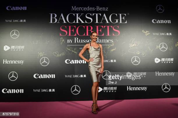 Candice Swanpoel attends the MercedesBenz 'Backstage Secrets' By Russell James Book Launch Shanghai Exhibit Opening Party at Harbor City Gala Hall on...