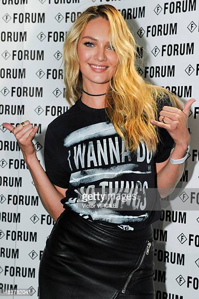 Candice Swanpoel during the Forum show at Sao Paulo Fashion Week Spring Summer 2014/2015 at Parque Candido Portinari on April 3 2014 in Sao Paulo...