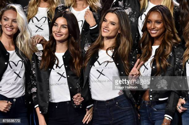 Candice Swanpoel Lily Aldridge Alessandra Ambrosio and Jasmine Tookes pose during the All Model Appearance At MercedesBenz Arena on November 18 2017...