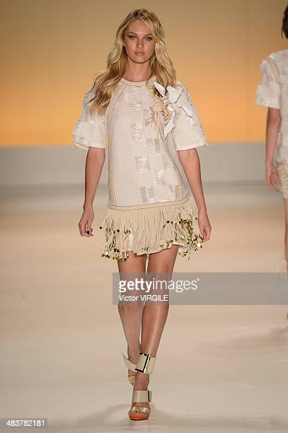 Candice Swanpoel walks the runway during the Forum show at Sao Paulo Fashion Week Spring Summer 2014/2015 at Parque Candido Portinari on April 3 2014...