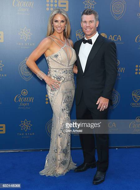 Candice Warner and David Warner arrive ahead of the Allan Border Medal at on January 23 2017 in Sydney Australia