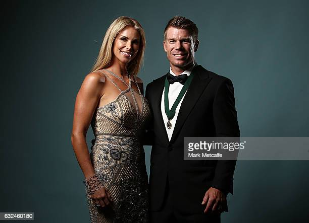 Candice Warner and David Warner pose after winning the Allan Border Medal during the 2017 Allan Border Medal at The Star on January 23 2017 in Sydney...