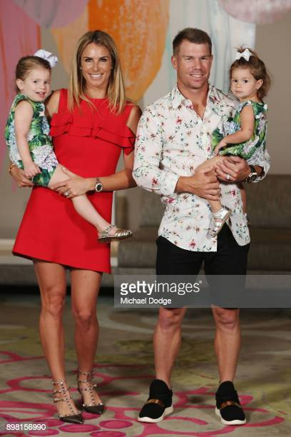 Candice Warner and David Warner pose with their daughters Ivy and Indi during the Australian nets session at the on December 25 2017 in Melbourne...