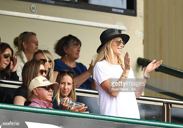 Candice Warner wife of David Warner of Australia celebrates after Warner reached his century during day one of the Third Test match between Australia...
