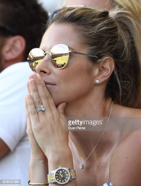 Candice Warner wife of David Warner of Australia looks on during day four of the First Test Match of the 2017/18 Ashes Series between Australia and...