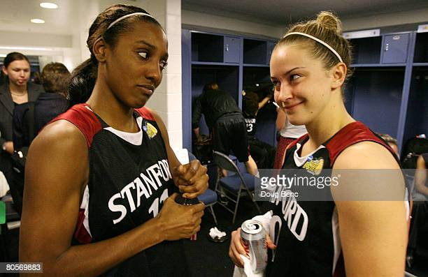 Candice Wiggins and JJ Hones of the Stanford Cardinal look at each other in the locker room after they lost 6448 against the Tennessee Lady...