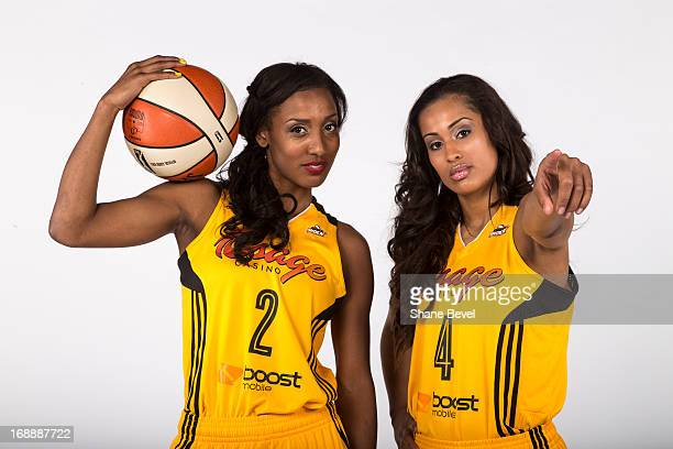 Candice Wiggins and Skylar Diggins of the Tulsa Shock pose for a picture during the team media day photo shoot on May 15 2013 at the BOK Center in...