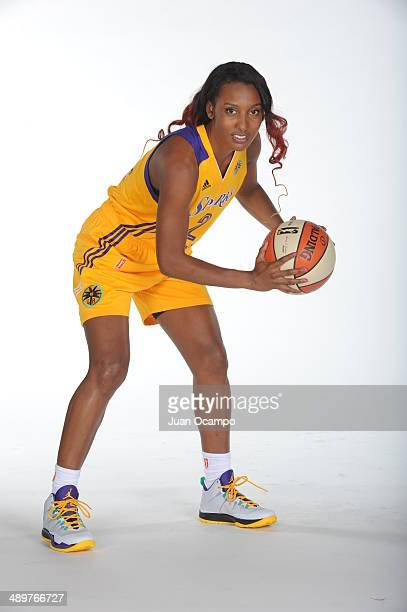Candice Wiggins of the Los Angeles Sparks poses for a photo during WNBA Media Day at Staples Center on May 10 2014 in Los Angeles California NOTE TO...