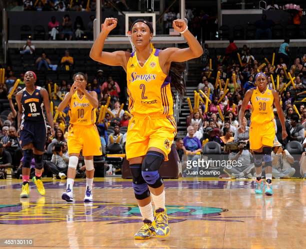Candice Wiggins of the Los Angeles Sparks shows emotion during the game against the Connecticut Sun at STAPLES Center on August 3 2014 in Los Angeles...