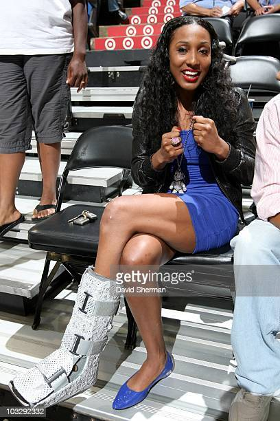 Candice Wiggins of the Minnesota Lynx attends the game against the Seattle Storm during a WNBA game at the Target Center on August 1 2010 in...