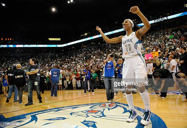 Candice Wiggins of the Minnesota Lynx celebrates a win of Game Two of the 2011 WNBA Finals against the Atlanta Dream on October 5 2011 at Target...